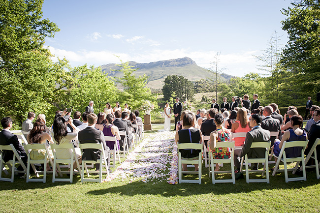 Molenvliet Wedding Ceremony :: Pale Yellow, White & Coral Winelands Destination Wedding (South Africa) :: Joanne Markland Photography :: ConfettiDaydreams.com Wedding Blog