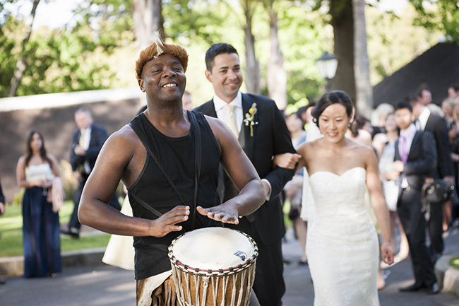 Traditional Zulu Ceremony Music Pale Yellow White Coral Winelands Destination Wedding