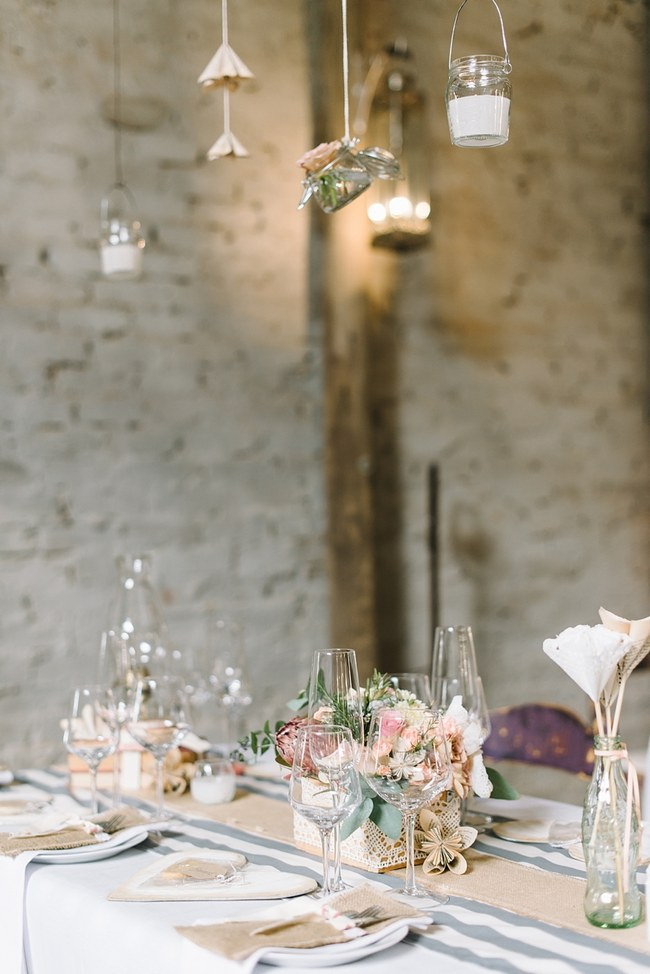 Wedding Reception Decor :: Pretty paper Flower, Rustic Blush Farm Wedding :: South Africa :: Louise Vorster Photography :: Seen on ConfettiDaydreams.com