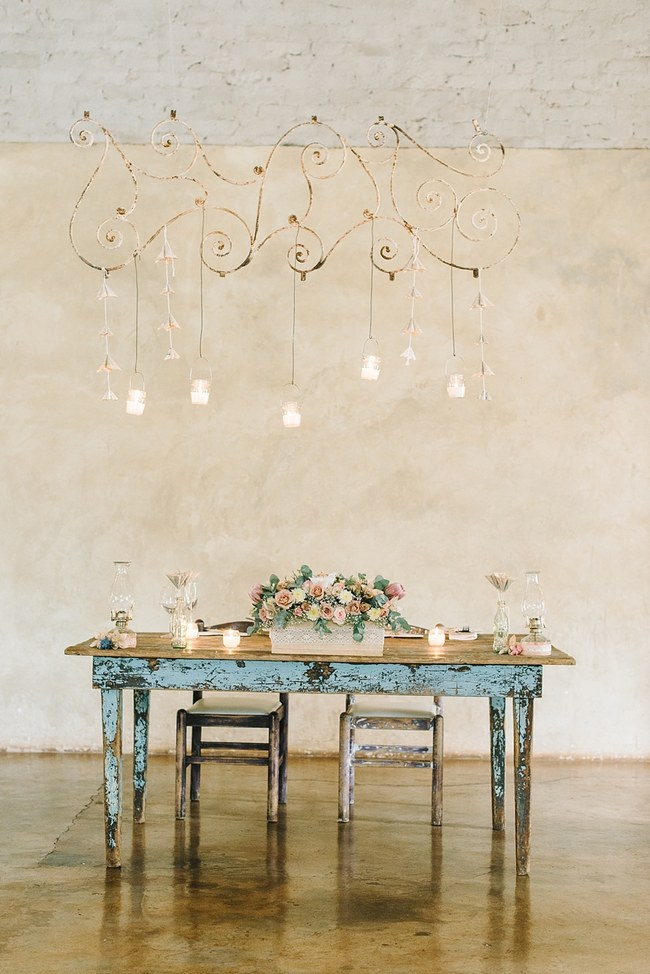 Sweetheart Table :; Wedding Reception Decor :: Pretty paper Flower, Rustic Blush Farm Wedding :: South Africa :: Louise Vorster Photography :: Seen on ConfettiDaydreams.com