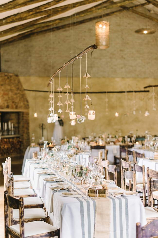 Tablescape  :: Wedding Reception Decor :: Pretty paper Flower, Rustic Blush Farm Wedding :: South Africa :: Louise Vorster Photography :: Seen on ConfettiDaydreams.com
