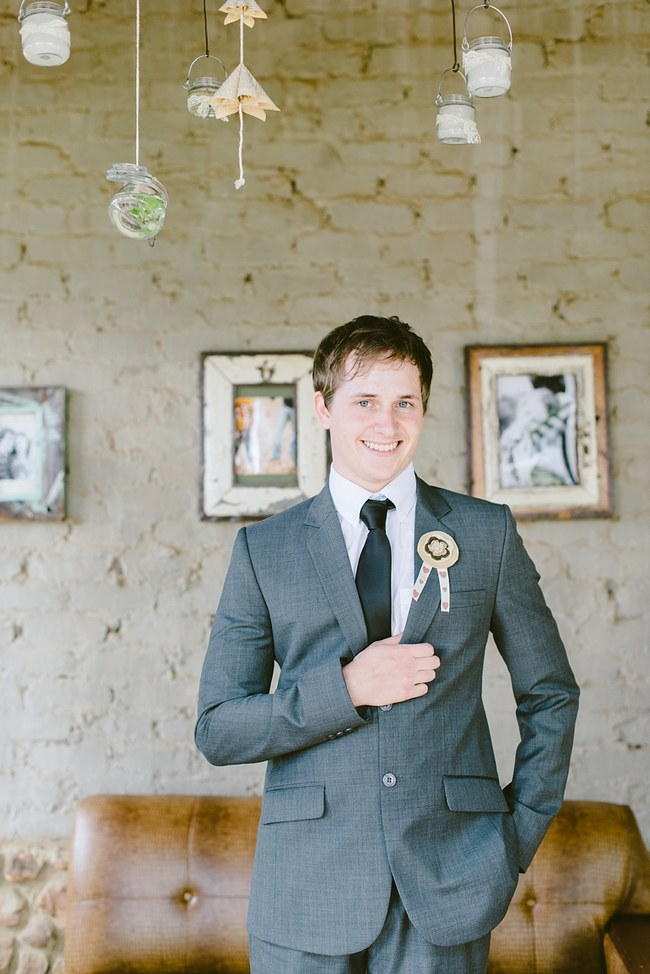 Grey Grooms attire  :: Pretty paper Flower, Rustic Blush Farm Wedding :: South Africa :: Louise Vorster Photography :: Seen on ConfettiDaydreams.com