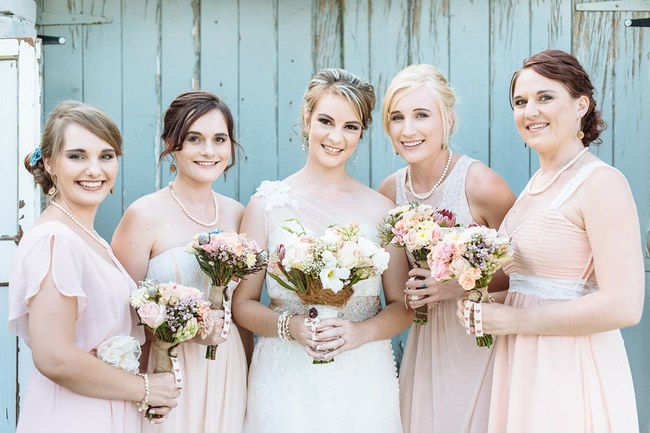 Bridesmaids  :: Pretty paper Flower, Rustic Blush Farm Wedding :: South Africa :: Louise Vorster Photography :: Seen on ConfettiDaydreams.com