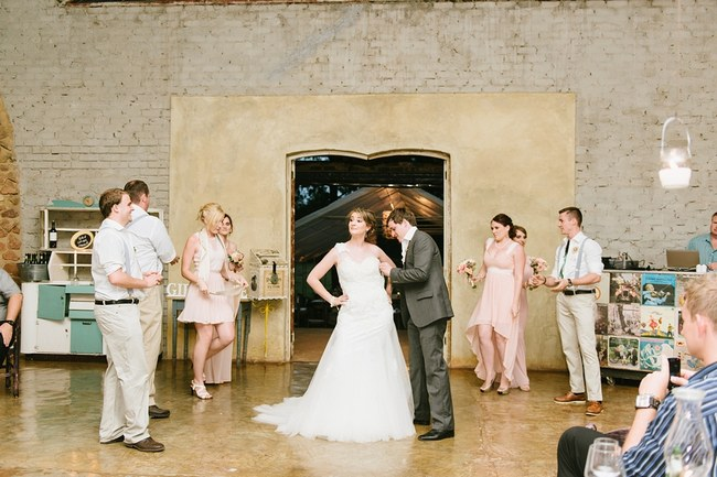 Wedding Dress Change:: Pretty paper Flower, Rustic Blush Farm Wedding :: South Africa :: Louise Vorster Photography :: Seen on ConfettiDaydreams.com