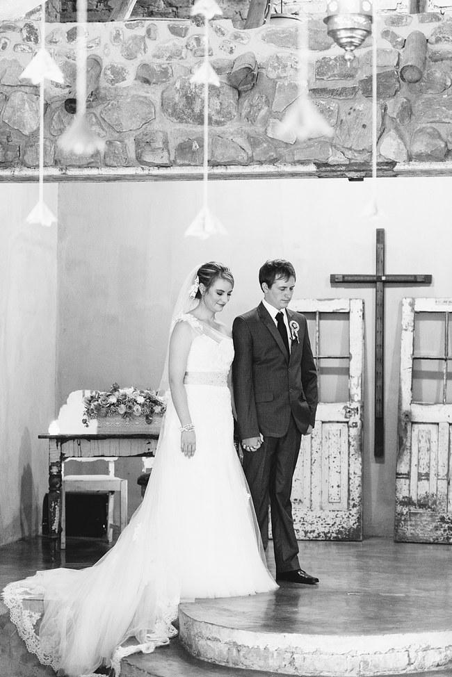 Wedding Ceremony :: Pretty paper Flower, Rustic Blush Farm Wedding :: South Africa :: Louise Vorster Photography :: Seen on ConfettiDaydreams.com