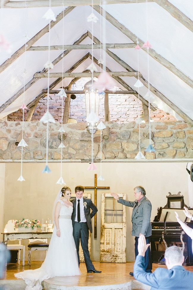 Paper Flower Ceremony Decor :: Pretty paper Flower, Rustic Blush Farm Wedding :: South Africa :: Louise Vorster Photography :: Seen on ConfettiDaydreams.com