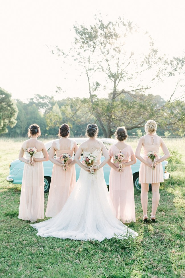 Bridal Party Portraits :: Pretty paper Flower, Rustic Blush Farm Wedding :: South Africa :: Louise Vorster Photography :: Seen on ConfettiDaydreams.com