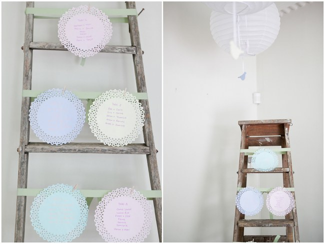 Doily seating chart using dyed doilies! :: Pretty Pastel and Powder Blue DIY South African Wedding captured by Nadine Aucamp Photography :: Published on Confetti Daydreams Wedding Blog