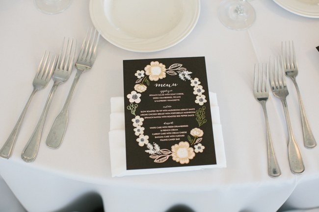 Printed Wedding Reception Decor| Dreamy Blush Pink Grey California Wedding | Marianne Wilson Photography via ConfettiDaydreams.com
