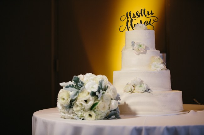 Cake & Wedding Reception Decor  Dreamy Blush Pink Grey California Wedding   Marianne Wilson Photography via ConfettiDaydreams.com
