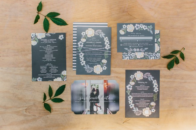 Wedding Stationery | Dreamy Blush Pink Grey California Wedding | Marianne Wilson Photography via ConfettiDaydreams.com