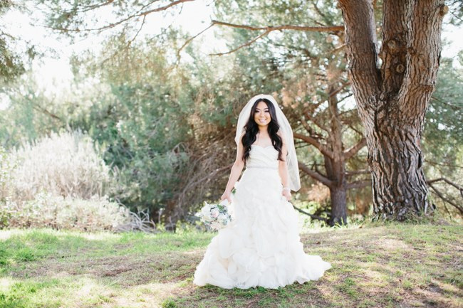 Vera Wang Gown | Dreamy Blush Pink Grey California Wedding | Marianne Wilson Photography via ConfettiDaydreams.com