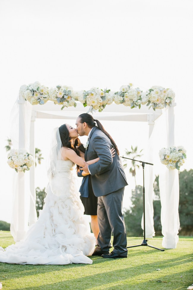 Outdoor Wedding Ceremony | Dreamy Blush Pink Grey California Wedding | Marianne Wilson Photography via ConfettiDaydreams.com