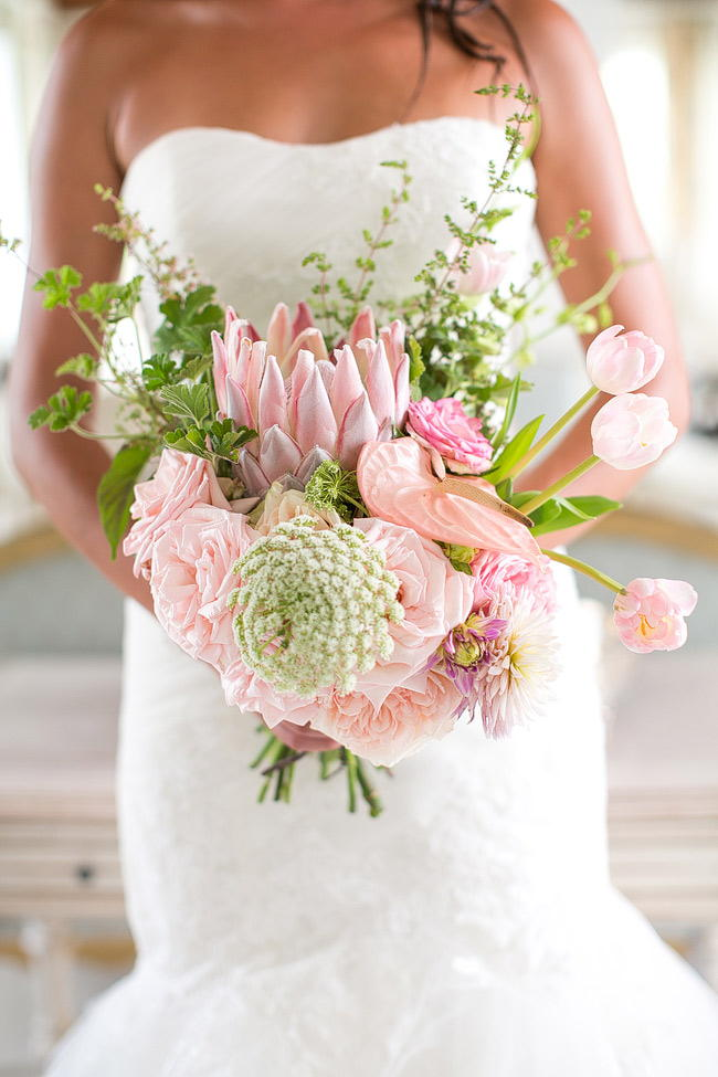 Perfect Sprint Protea Bouquet by Anli Wahl / Totally Gorgeous Glitter Blush Pink Gold South African Wedding / Adene Photography /