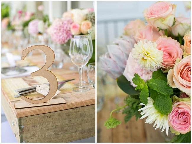 Table Number/ Wedding Decor: Outdoor Spring Tablescape / Totally Gorgeous Glitter Blush Pink Gold South African Wedding / Adene Photography /