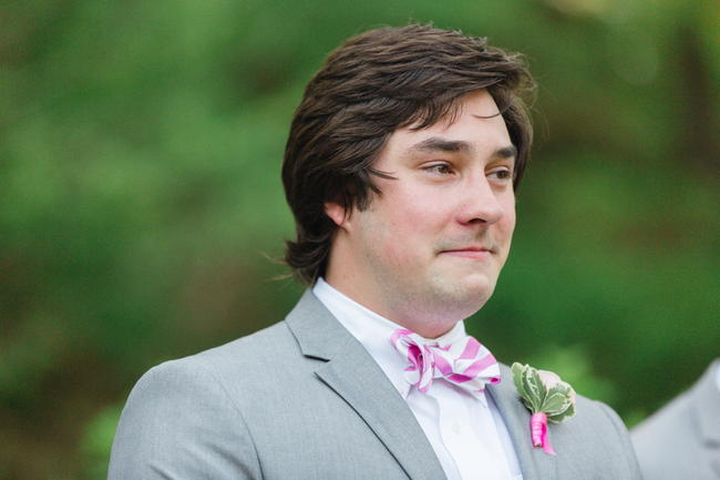 Emotional Groom // Old Southern Charm Garden Wedding in Pink and Gray // JoPhoto
