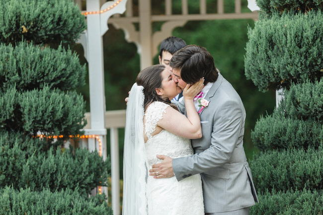 First Kiss // Old Southern Charm Garden Wedding in Pink and Gray // JoPhoto