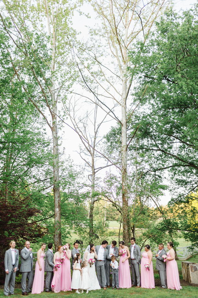 Wedding Party Group Portrait // Old Southern Charm Garden Wedding in Pink and Gray // JoPhoto