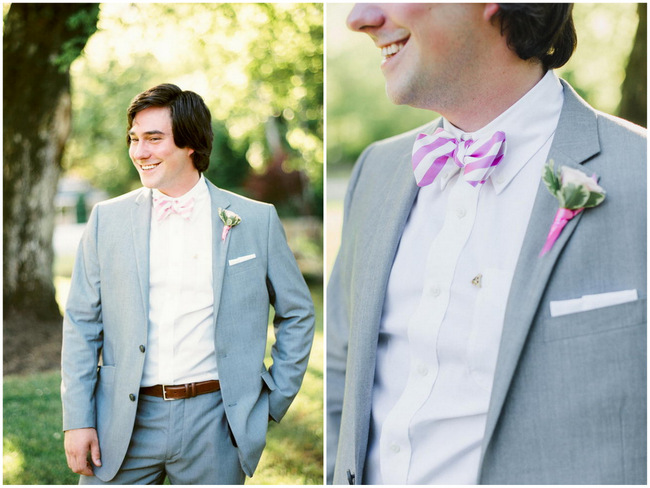 Groom Attire - Pink Striped Bowtie // Old Southern Charm Garden Wedding in Pink and Gray // JoPhoto