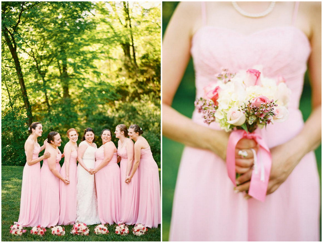 Bridesmaids // Old Southern Charm Garden Wedding in Pink and Gray // JoPhoto
