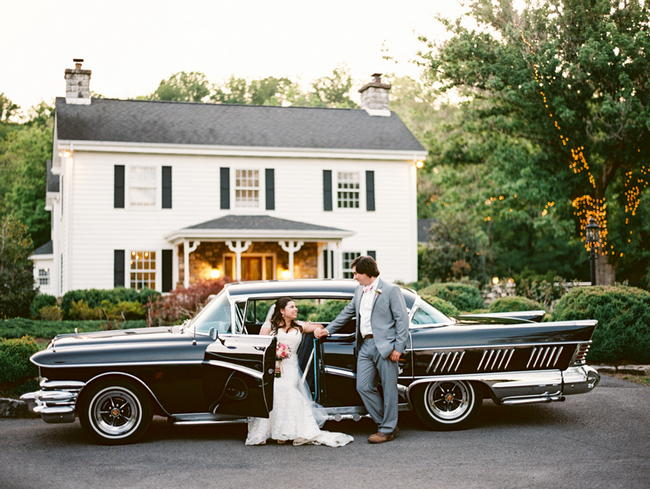 Vintage Car // Old Southern Charm Garden Wedding in Pink and Gray // JoPhoto