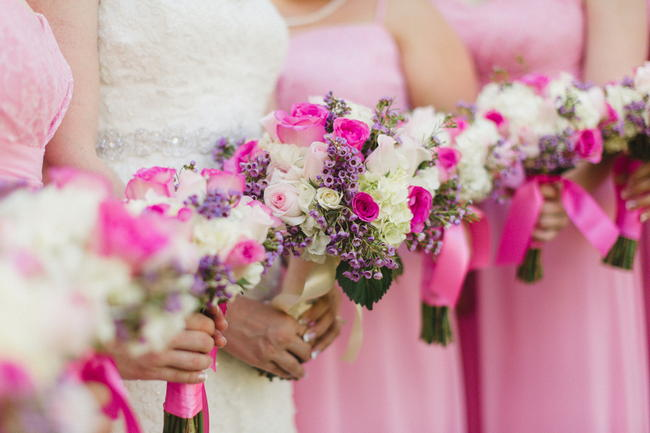 Bridesmaids Bouquets // Old Southern Charm Garden Wedding in Pink and Gray // JoPhoto