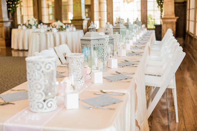 Table Decor // White Lanterns // Rustic Country Wedding in Blush Navy // Meet The Burks Photography