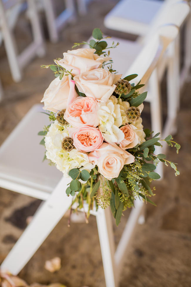 Floral Aisle Chair Decorations // Rustic Country Wedding in Blush Navy // Meet The Burks Photography