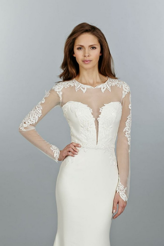 21 ridiculously stunning long sleeved wedding dresses for Wedding dress with illusion sleeves