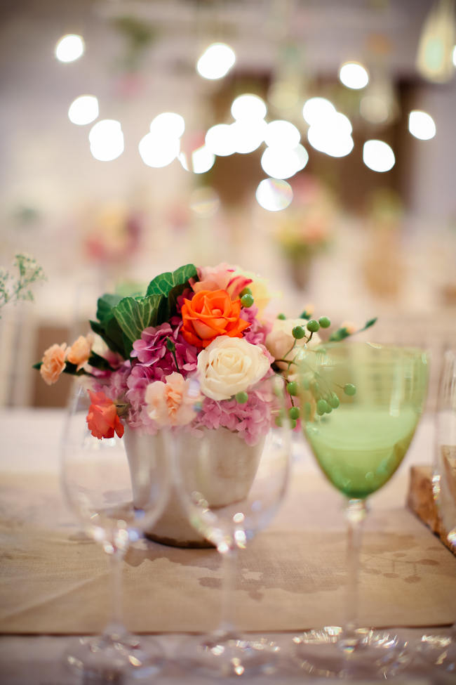 Fl;oral Centerpiece // Reception Decor // Colourful Nooitgedacht Wedding on a rainy South African day  // Nikki Meyer photography