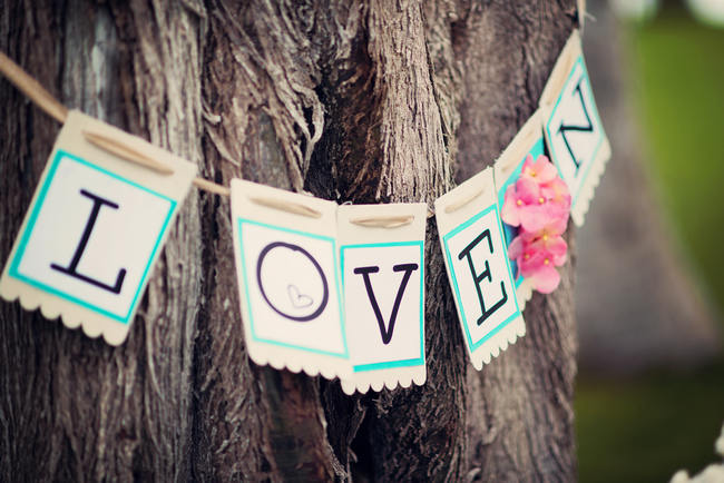 Burlap LOVE Sign on Tree // Rustic Coral & Mint Destination Beach Wedding Reception // BellaEva Photography