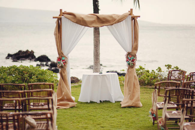 Wedding Arch //Maui Beach Wedding Ceremony // Rustic Coral & Mint Destination Beach Wedding // BellaEva Photography