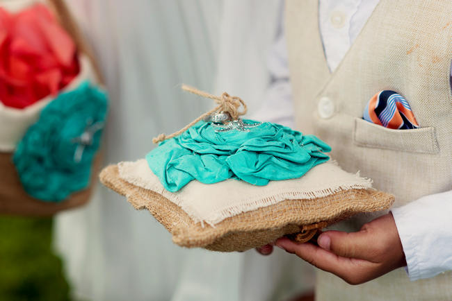 Burlap Ring Pillow // Maui Beach Wedding Ceremony // Rustic Coral & Mint Destination Beach Wedding // BellaEva Photography