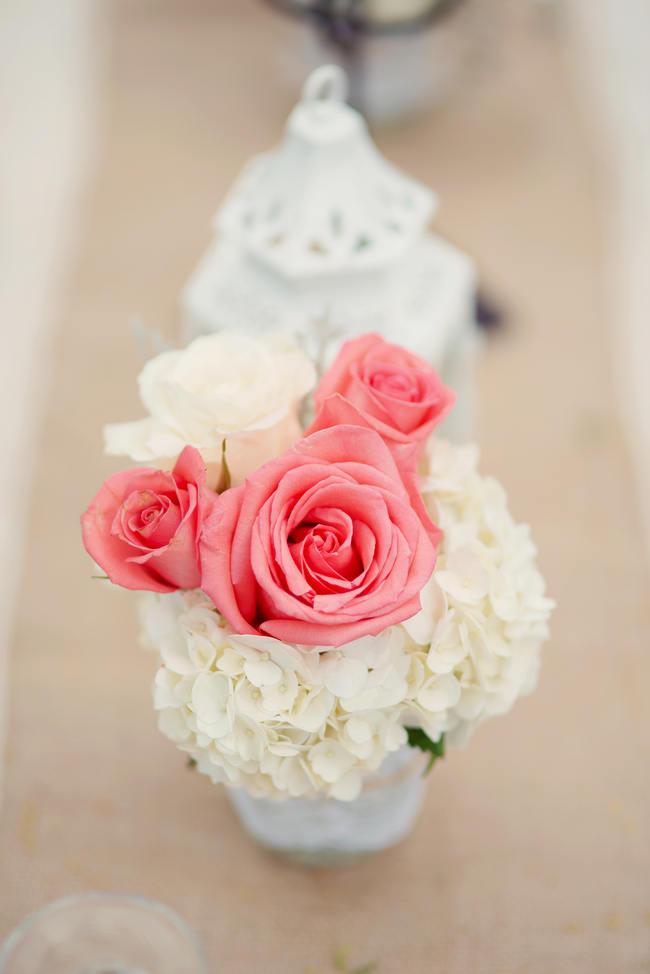 Flower Table Arrangement // Rustic Coral & Mint Destination Beach Wedding Reception // BellaEva Photography