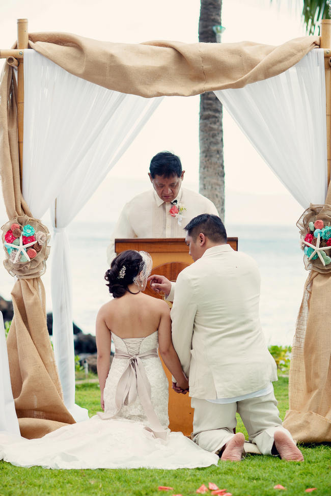 Maui Beach Wedding Ceremony // Rustic Coral & Mint Destination Beach Wedding // BellaEva Photography