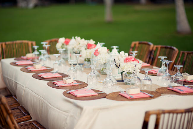 Tablescap Rustic Coral Mint Destination Beach Wedding Reception BellaEva Photography