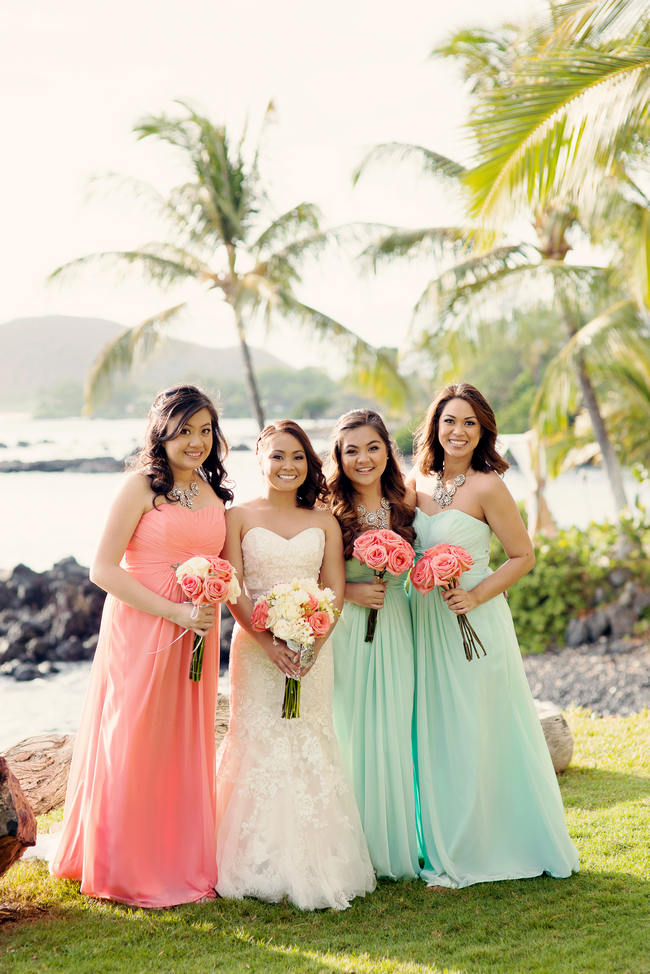 Romantic rustic coral seafoam green maui beach for Coral bridesmaid dresses for beach wedding