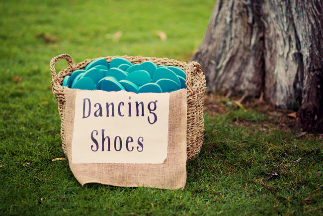 Burlap Dancing Shoes Sign // Rustic Coral & Mint Destination Beach Wedding Reception // BellaEva Photography