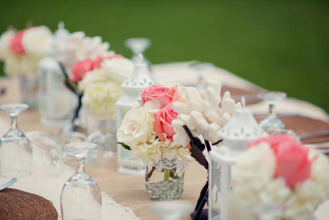 Burlap Table Runner // Rustic Coral & Mint Destination Beach Wedding Reception // BellaEva Photography