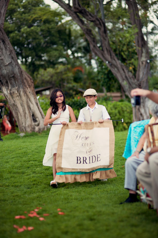 Here Comes The Bride Sign Rustic Coral & Mint Destination Beach Wedding // BellaEva Photography