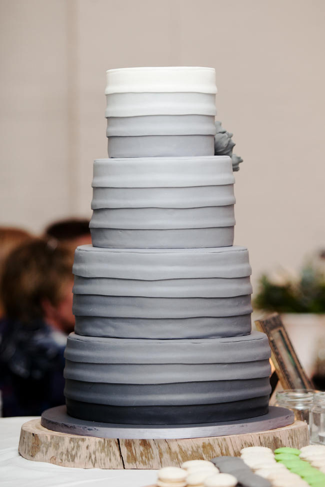 Tiered Gray Ombre Wedding Cake // Organic Grey and Green Wedding Reception Decor at Silvermist, Cape Town // Moira West Photography
