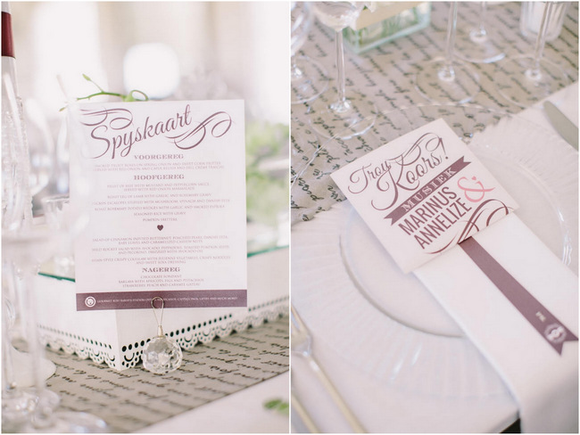 menus // Elegant Grey and Burgundy Vintage Wedding Decor at Nantes Estate // Charlene Schreuder Photography