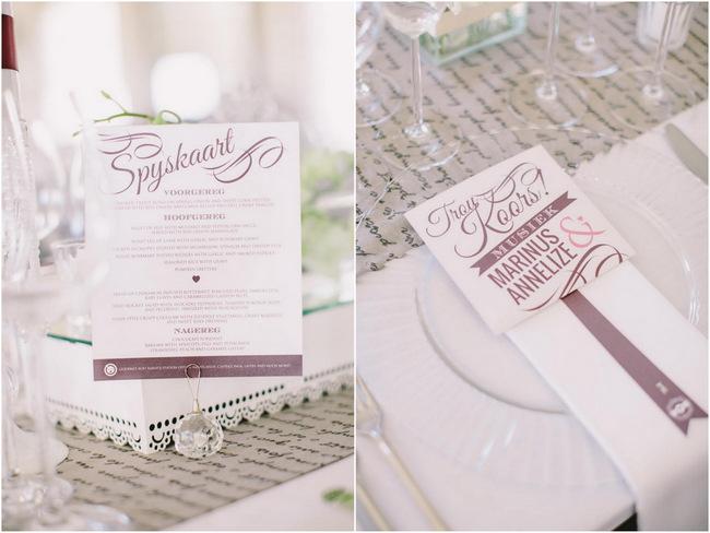 menus // Elegant Grey and Burgundy Vintage Wedding Decor at Nantes Estate // Charlene Schreuder Photography