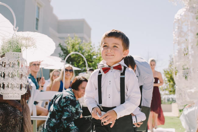 Page Boy //  Beautiful Outdoor Wedding Reception // Elegant Grey and Burgundy Vintage Wedding at Nantes Estate // Charlene Schreuder Photography