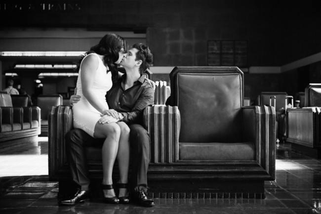 Los Angeles Union Station Engagement Couple Shoot - Thousand Crane Photography