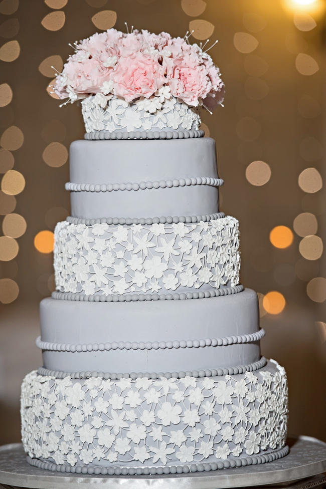 Stunning Grey and White Wedding Cake // Pink and Grey Lace Filled South African Wedding // Stella Uys Photography
