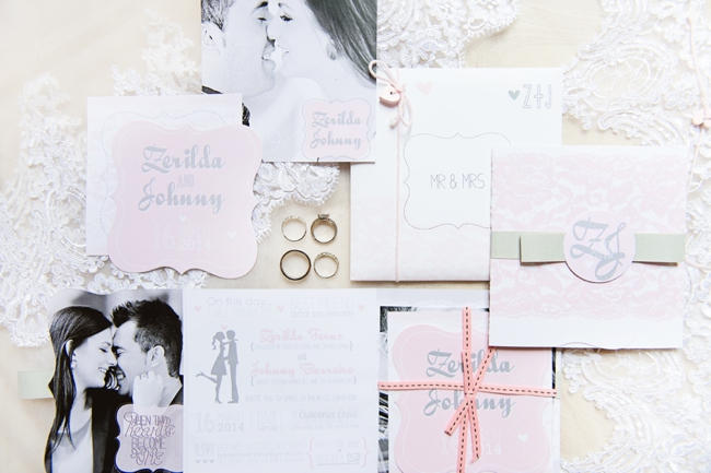 Stationery // Pink and Grey Lace Filled South African Wedding // Stella Uys Photography