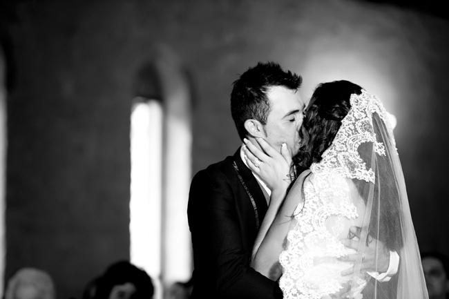 First Kiss // Wedding Ceremony // Pink and Grey Lace Filled South African Wedding // Stella Uys Photography