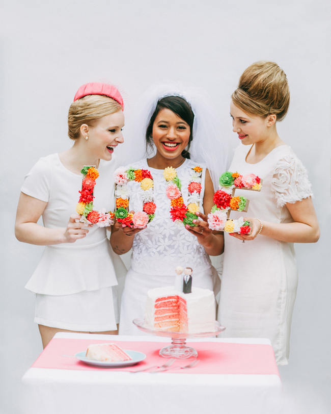 Cute Pink and White Retro, Sixties- Inspired Wedding Ideas // Ping Photography