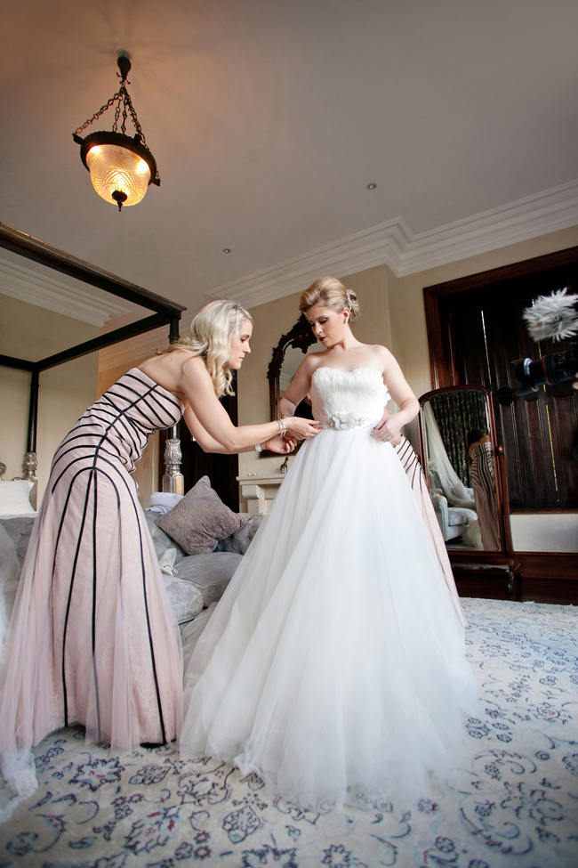 feathered Wedding Dress // Romantic South African Molenvliet Wedding in Pink and Ivory (Moira West Photography) (44)